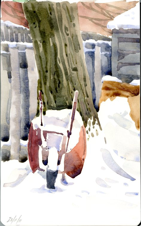 Wheelbarrow in the snow