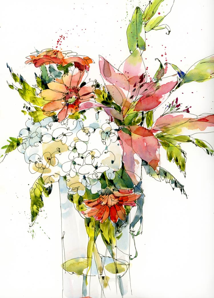 Line Art Watercolor : Line and wash flowers the sketchbook