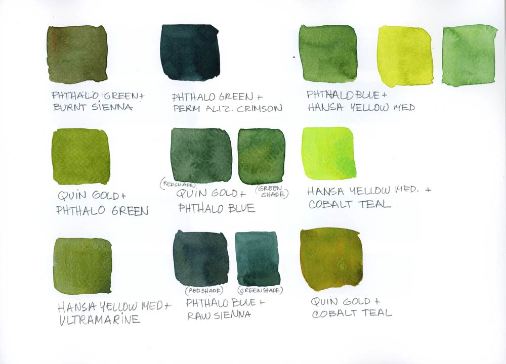 My Current Palette And Some Green Mixes The Sketchbook