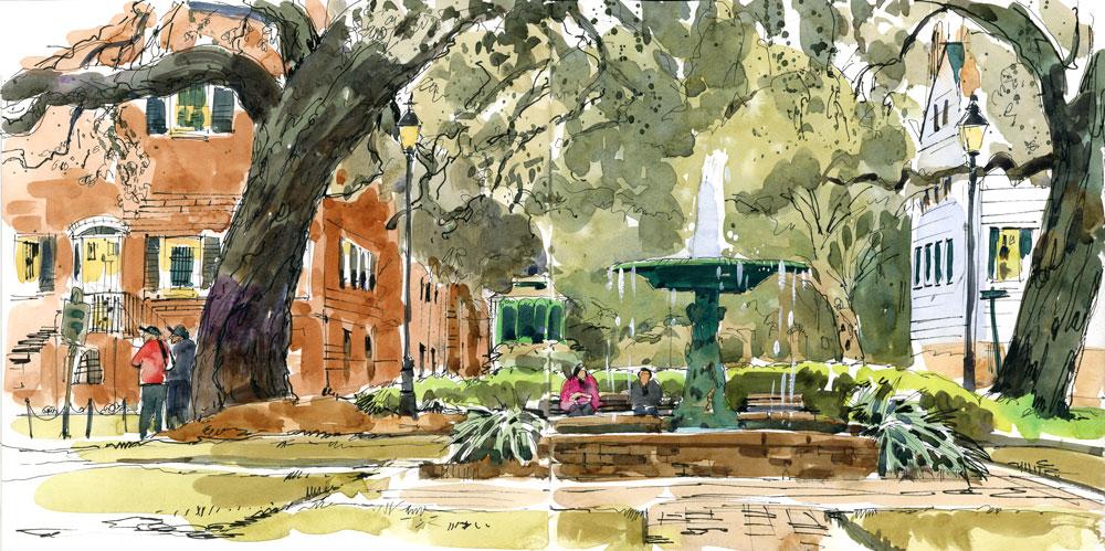 Sketching Savannah's Historic Squares