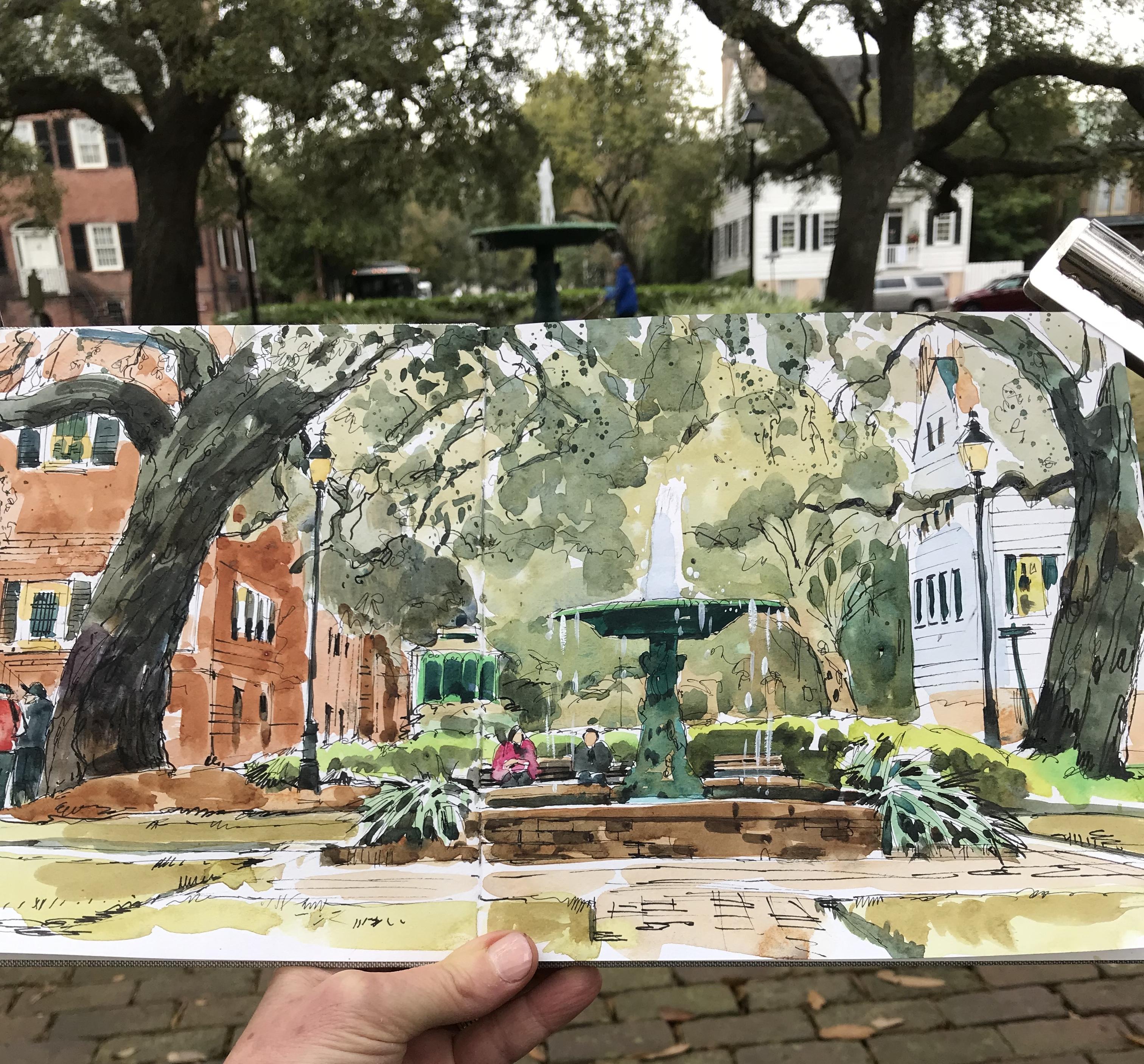 Sketching greens in Savannah